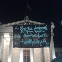 Consumimur Igni: Πανό και κείμενο για την επιχείρηση scripta manent και τις συλλήψεις στην Ιταλία